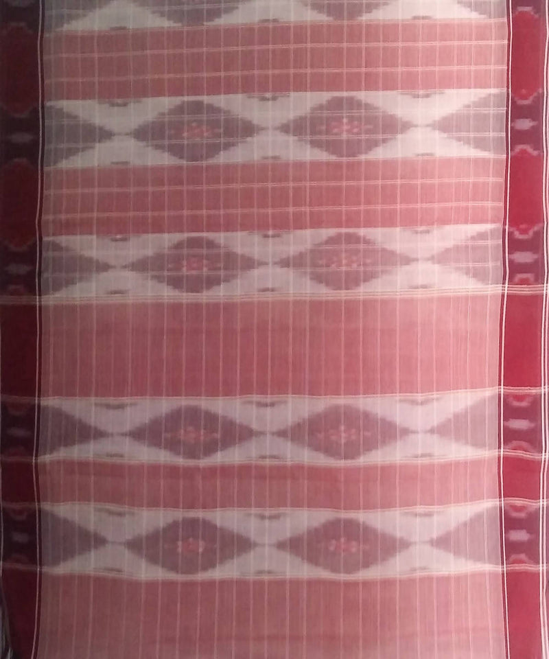 Maroon white siddipet tie and dye handwoven cotton saree