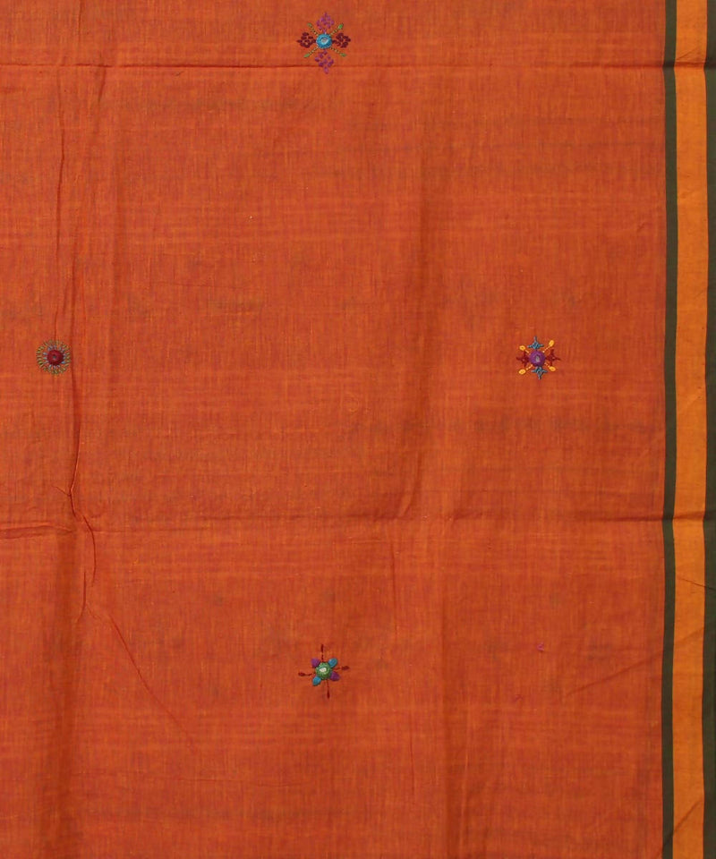 rust orange hand embroidery bengal cotton saree