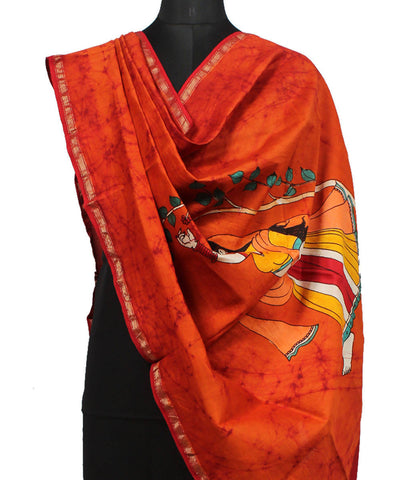 Red Orange Maheshwari Batik Print Dupatta