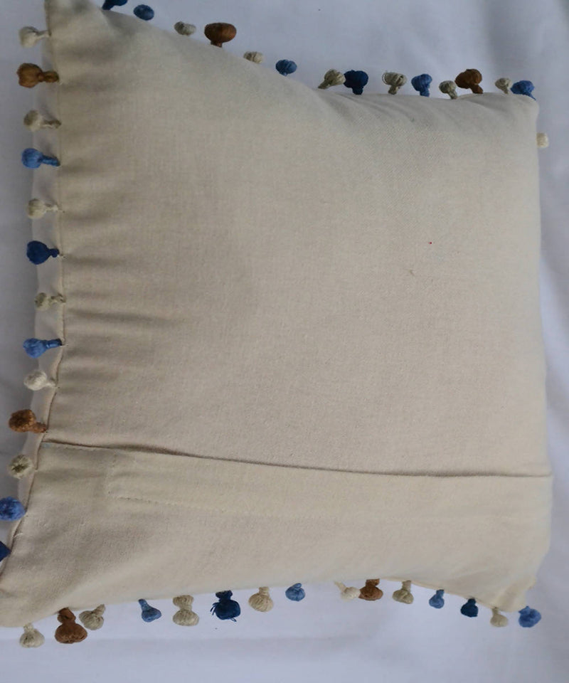 White blue cotton lambani hand embroidery cushion cover