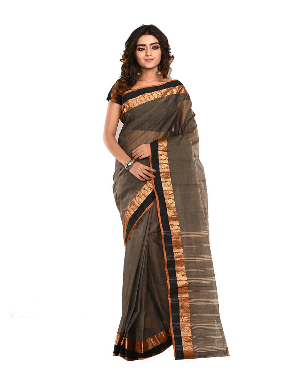 Bengal Dark Brown Handloom Cotton Saree