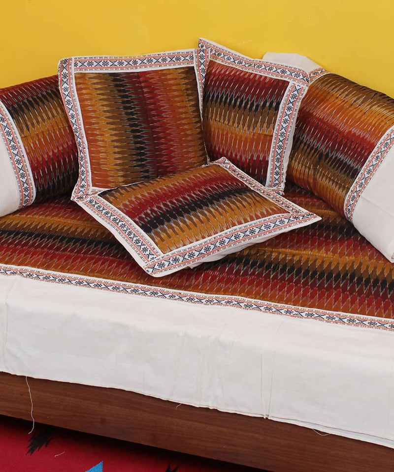 Multi color handloom pochampally ikkat diwan set