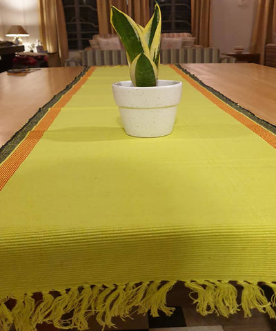 Lemon green handloom cotton table runner