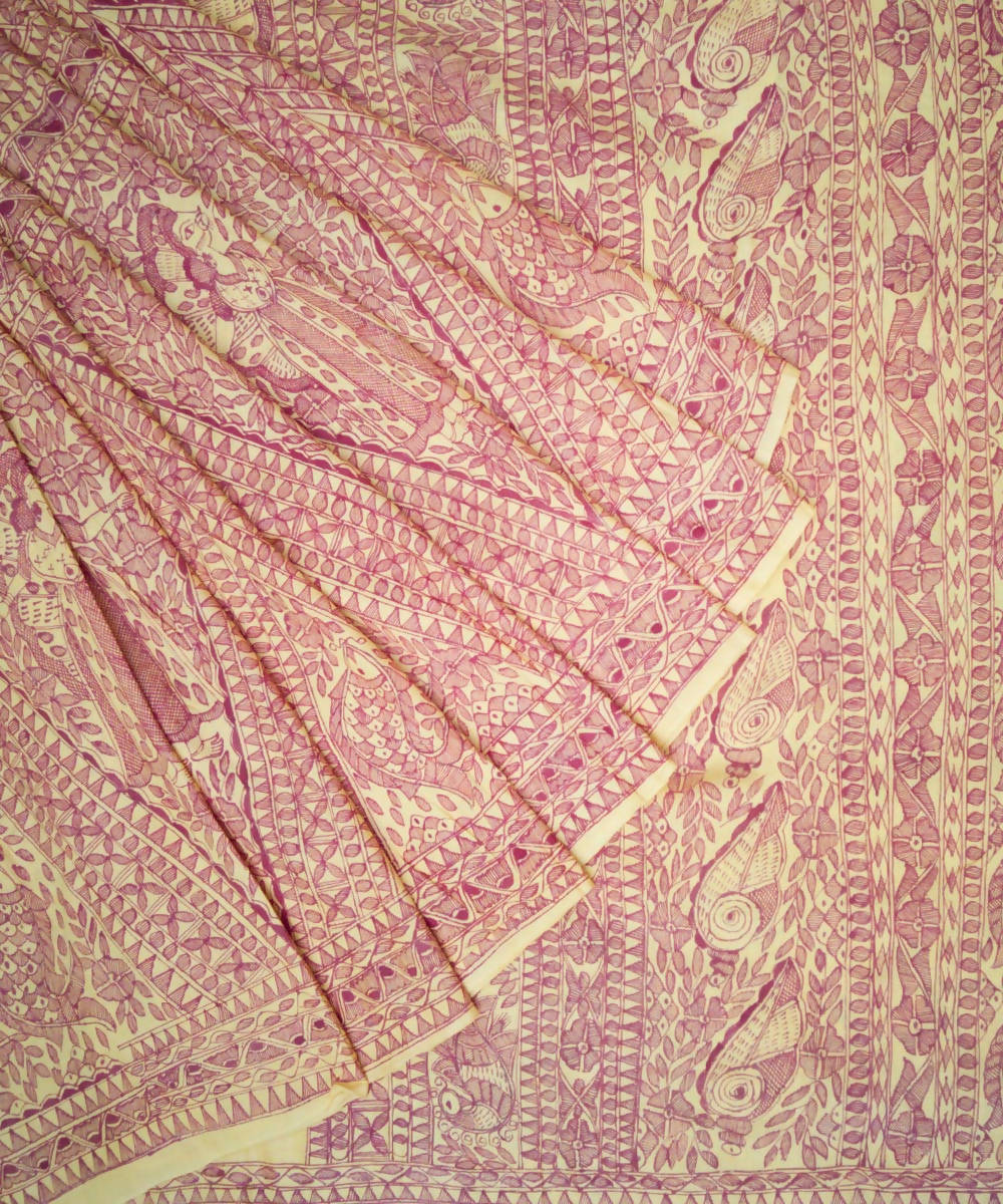 Yellow Madhubani Hand Paint Tussar Saree