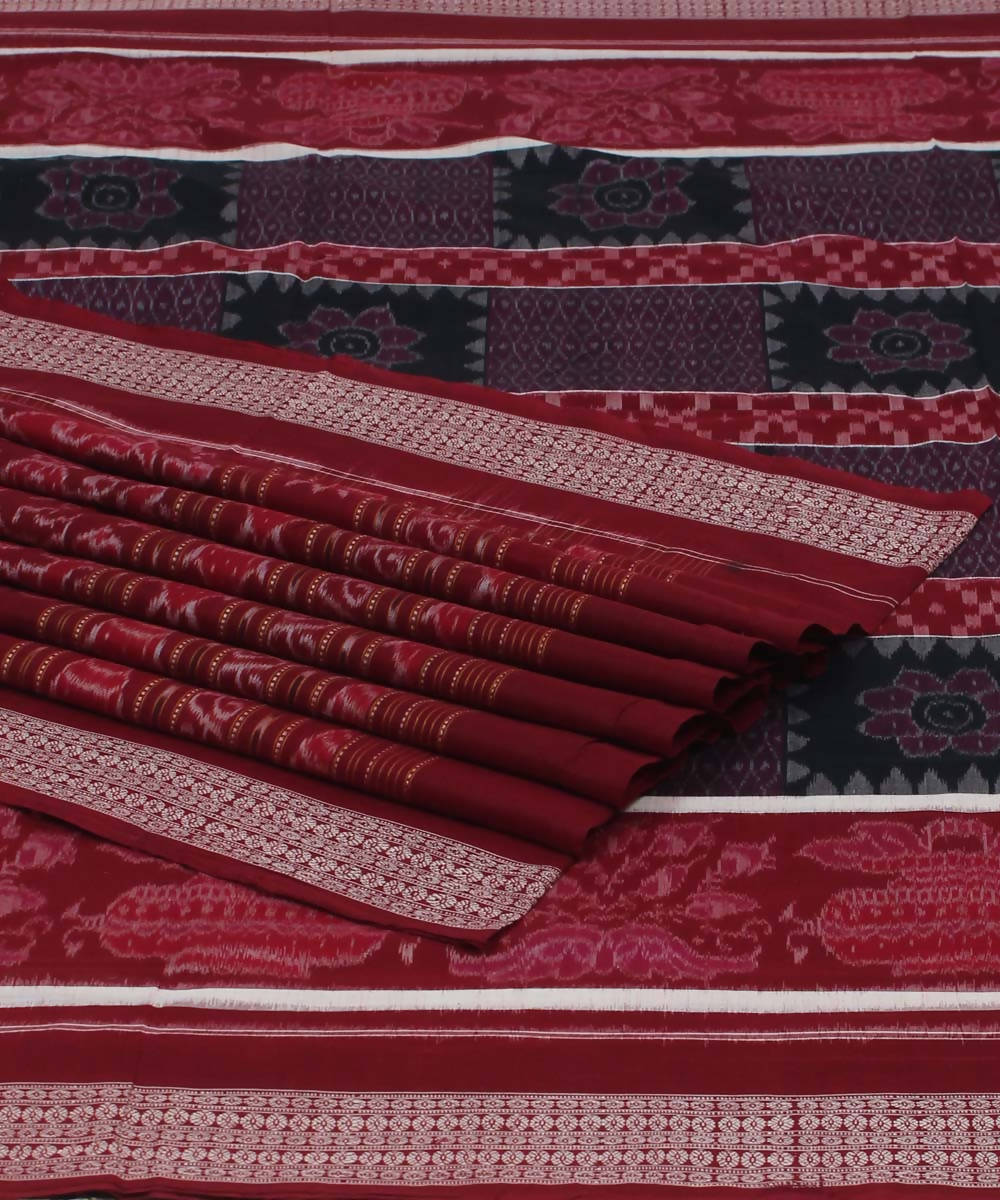 Sambalpuri Maroon Handloom Cotton Saree