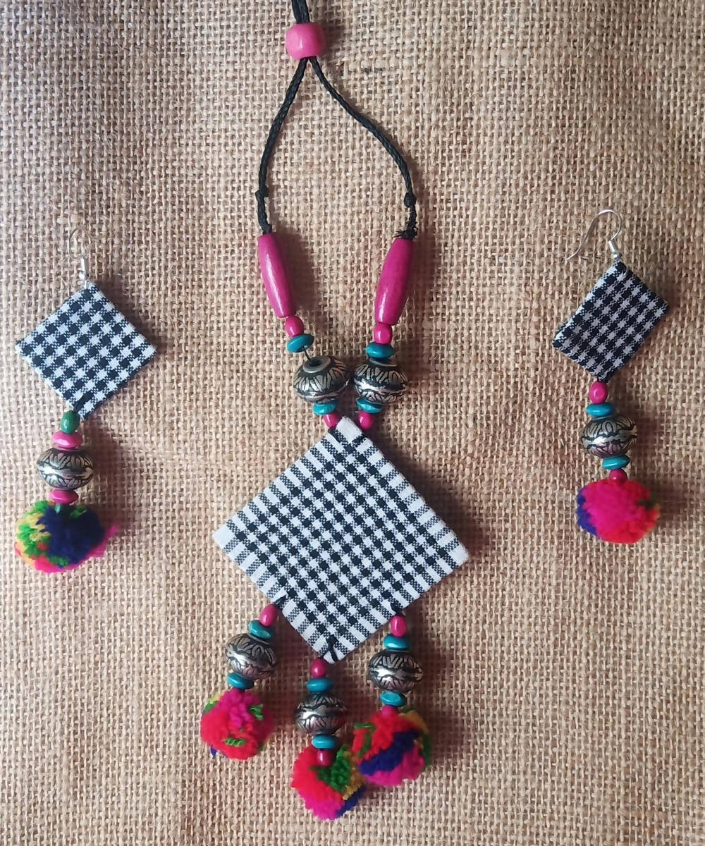 Hand Painted Fabric Necklace And Earring Set