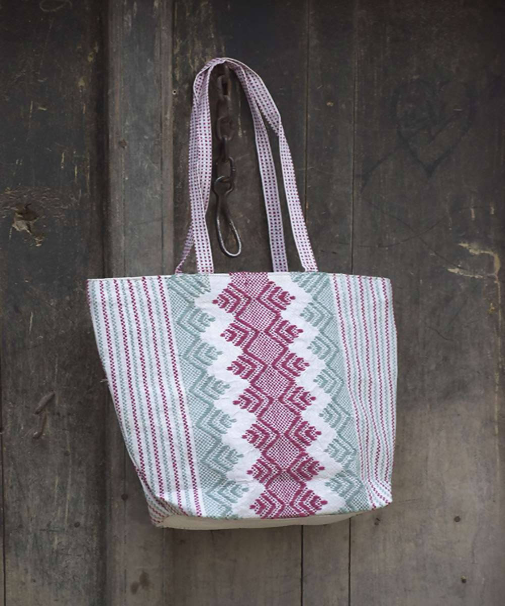pink and grey taat wool Hand Embroidered Shopper Bag