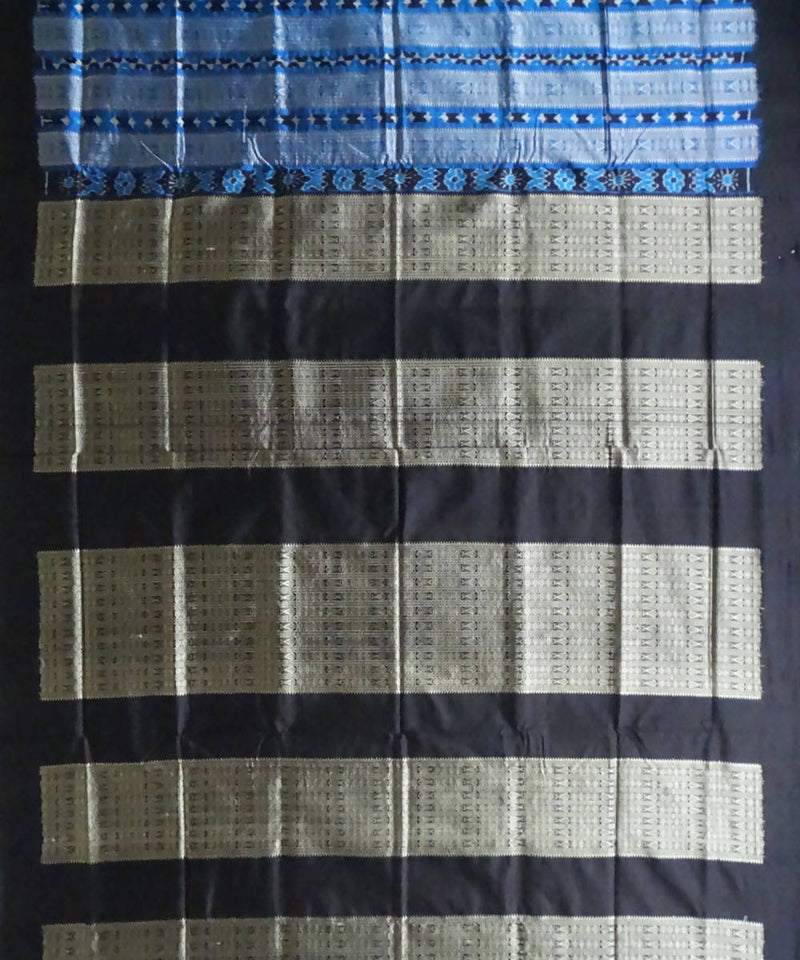 Blue and Black Sonepur Handloom Silk Saree