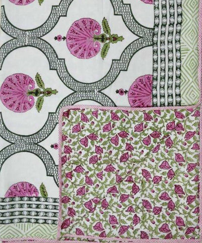 Pink and Green Handblock Prints on White Cotton Double Dohar