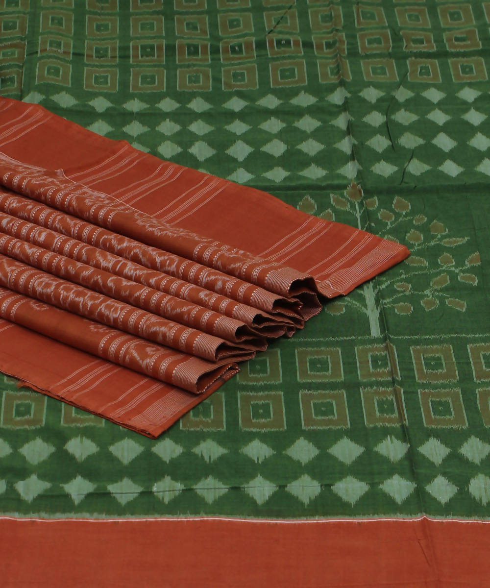 Handloom Green Maroon Sambalpuri Cotton Saree