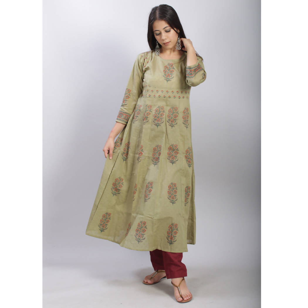 Olive hand block printed anarkali cotton kurti