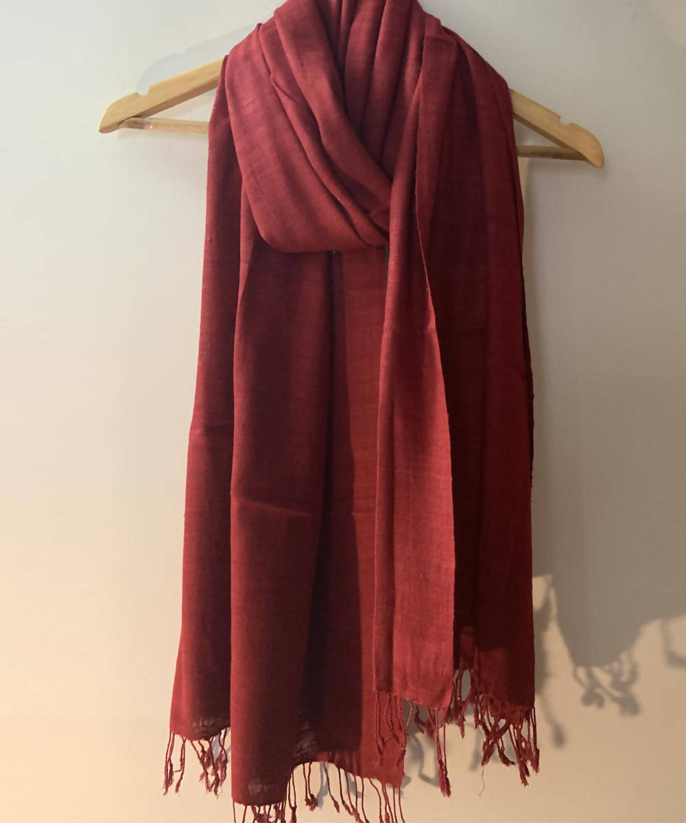 Red natural dyed handspun eri silk handwoven stole