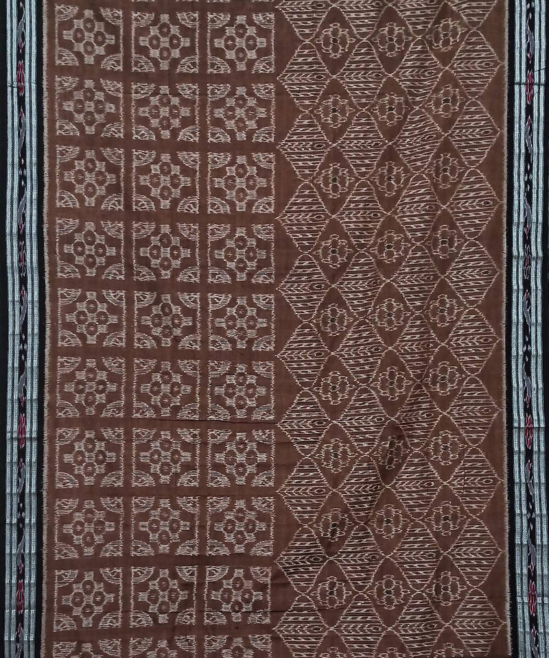 Deep Brown and Black Nuapatana Handwoven Cotton Saree