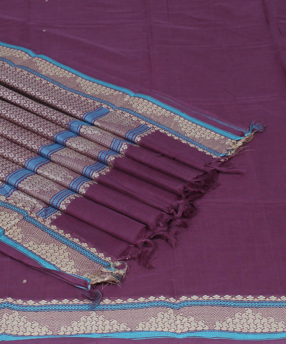 Handloom Mauve Purple Dindigul Cotton Saree