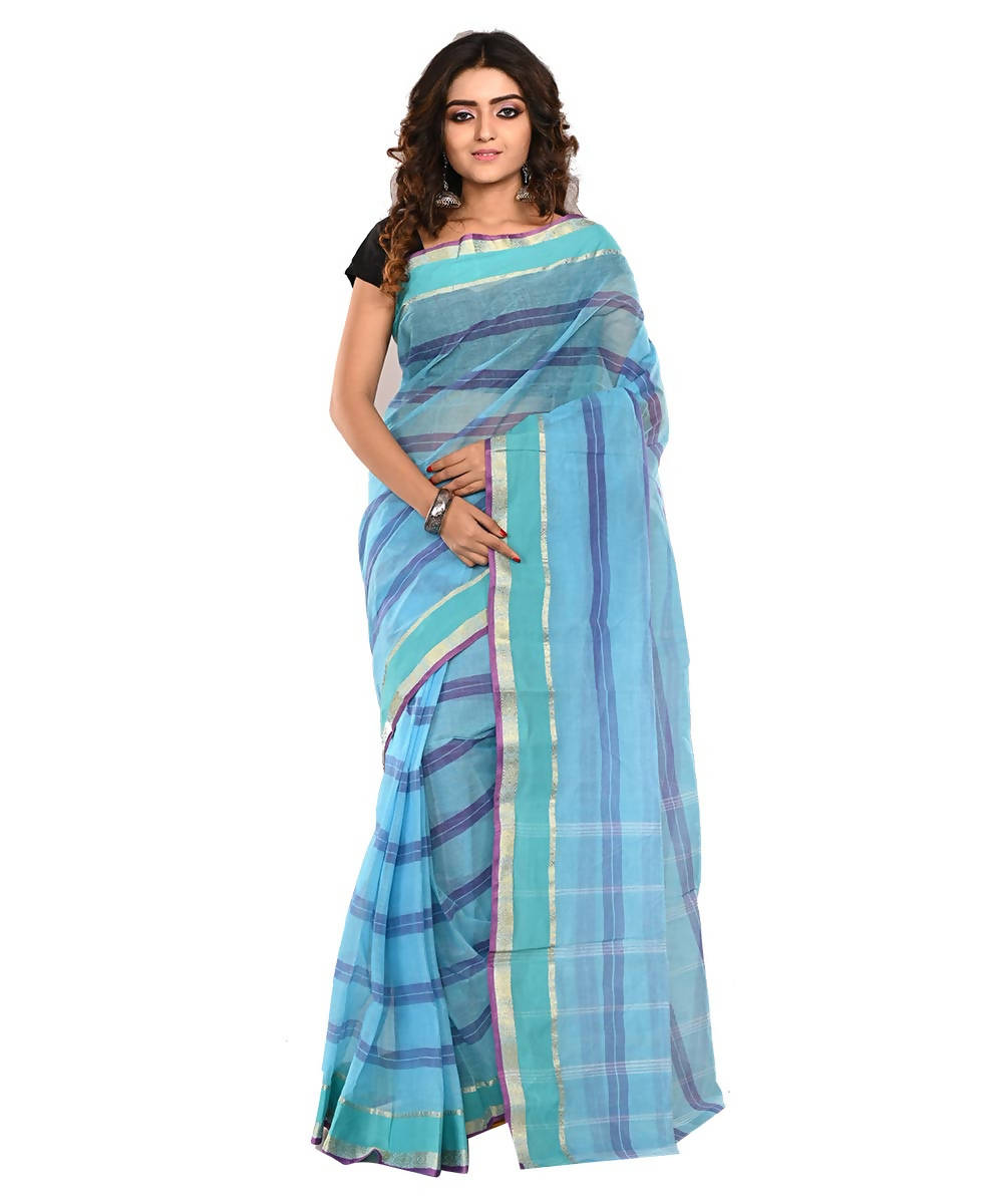 Bengal Blue Striped Handloom Cotton Saree