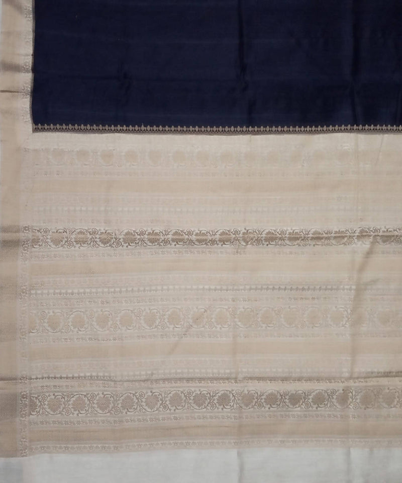 Banarasi Black and Cream Handloom Silk Saree