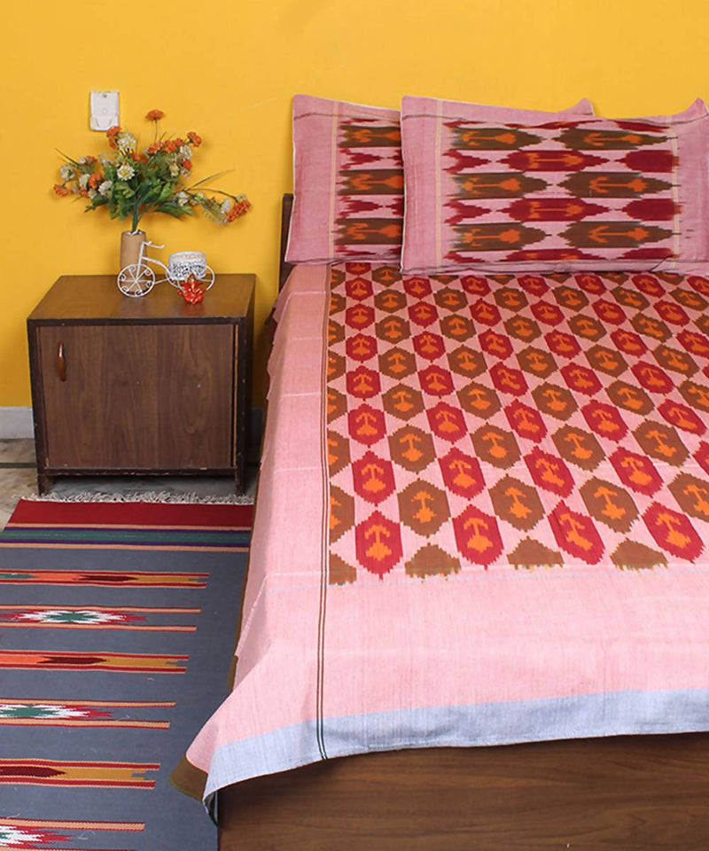 Handloom multicolor Ikat cotton bedsheet