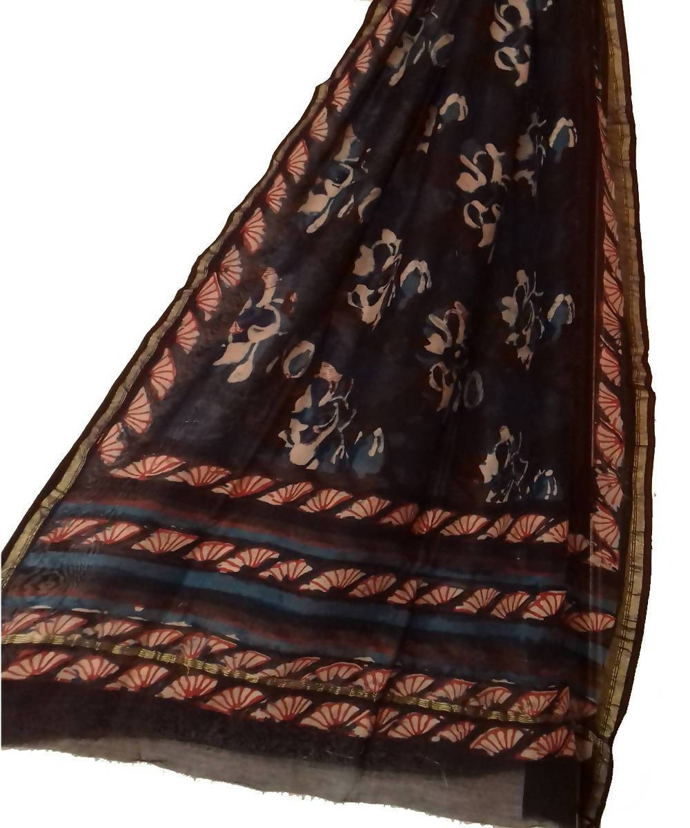 Dark blue Black block Print Chanderi Dupatta