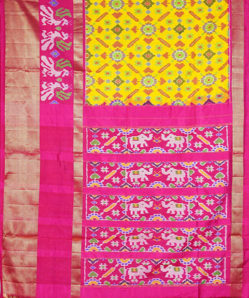 Yellow pan patola handloom Ikkat silk saree