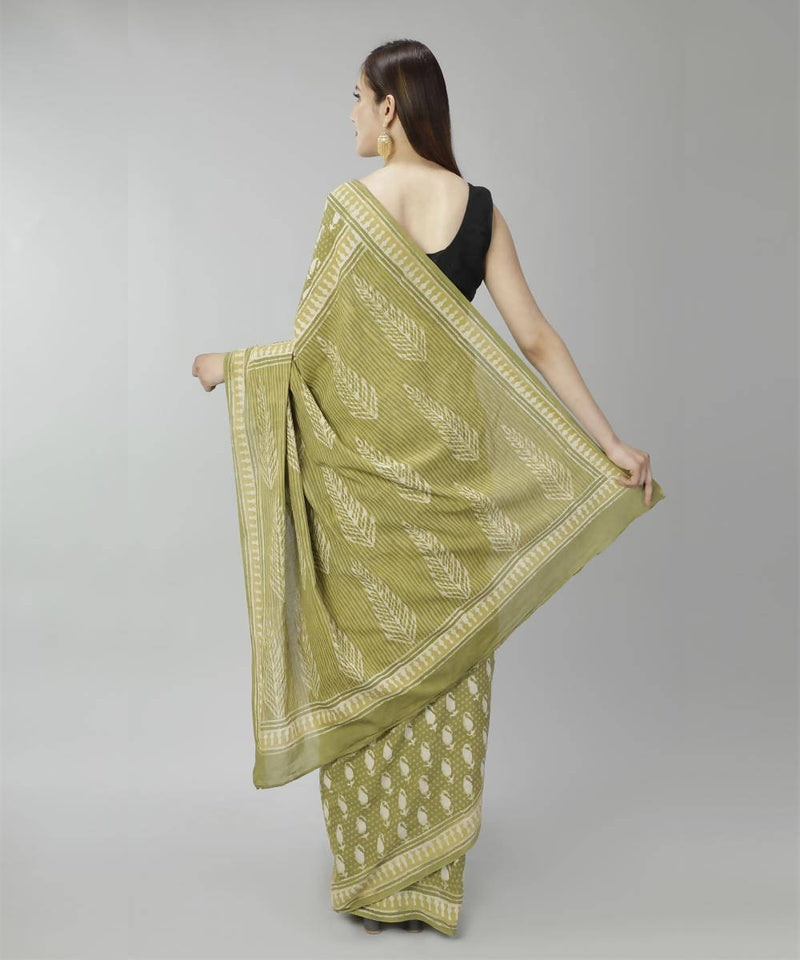 Asparagus green bagru handblock printed cotton saree