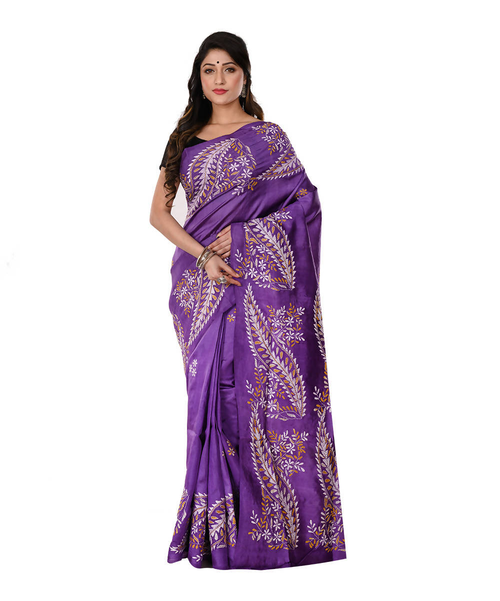 Kantha Hand stitch purple Silk Saree