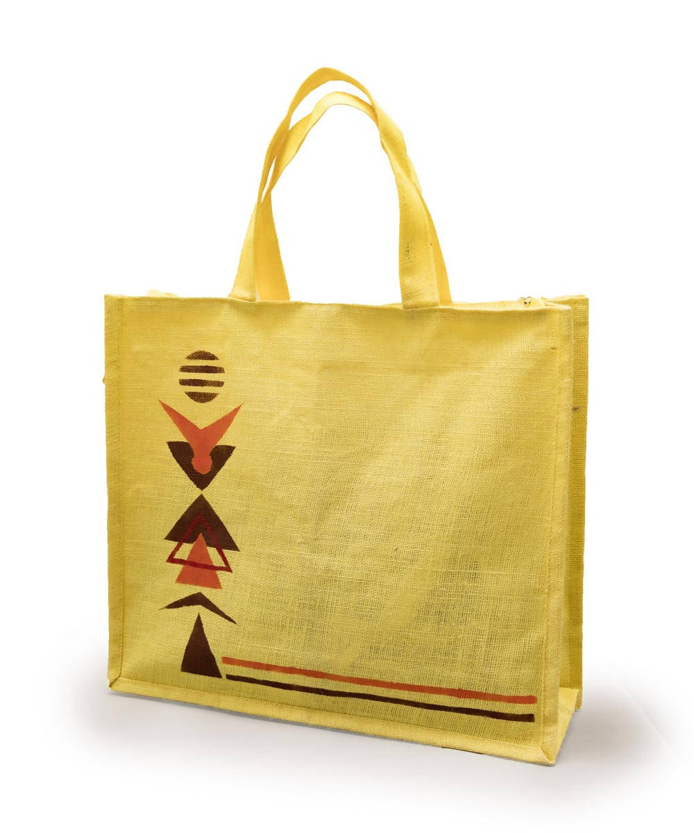 Yellow Jute Shopping Bag with Hand Painted Warli Art
