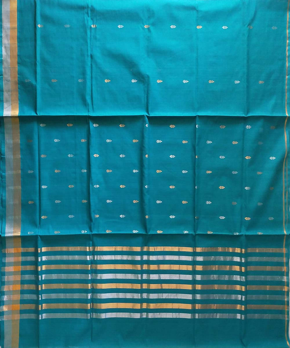 Dark cyan green handwoven venkatagiri cotton saree