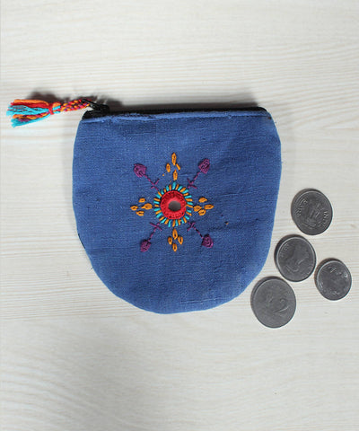 Blue Lambani Hand Embroidery Cotton Coin Pouch