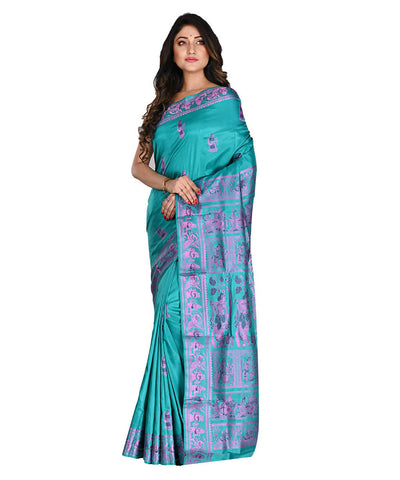 Bengal Handloom Blue Silk Baluchari Saree
