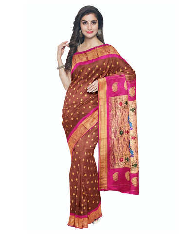 Copper brown handwoven paithani silk saree