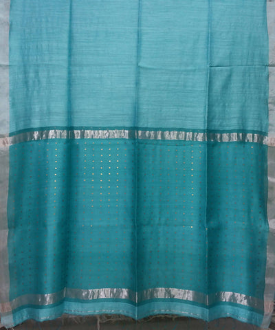 Bengal Light Turquoise Handloom Sequin Matka Silk Saree