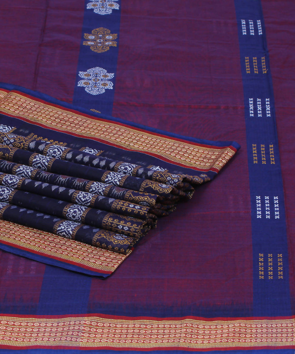 Blue Black Handloom Bomkai Cotton Saree