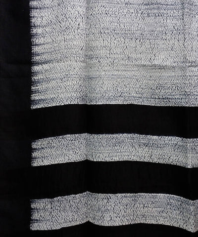 white and black Shibori hand print Matka silk Saree