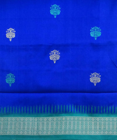 Dark Powder Blue Silk Bomkai Handloom Saree