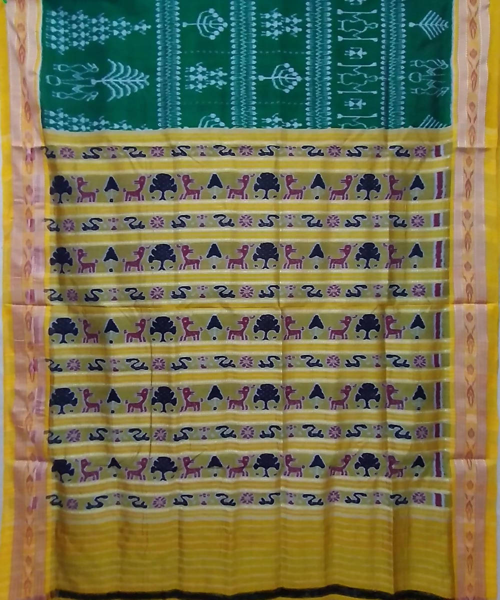 Dark green yellow handwoven silk khandua saree
