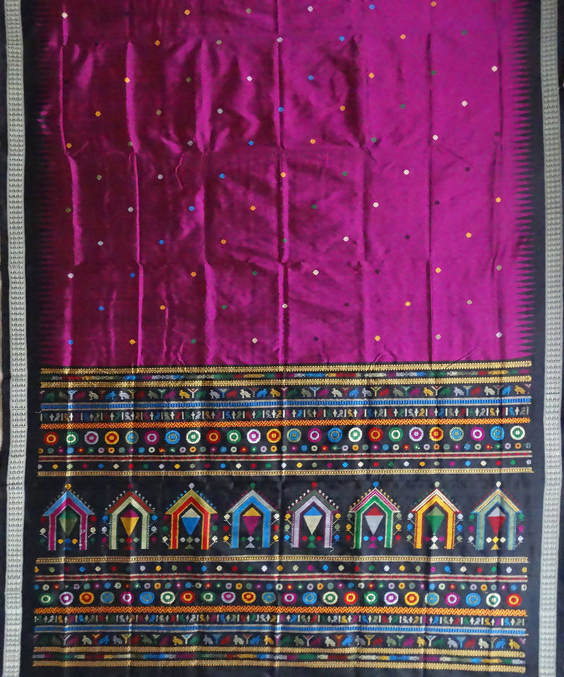 Purple handwoven bomkai Dolabedi silk saree