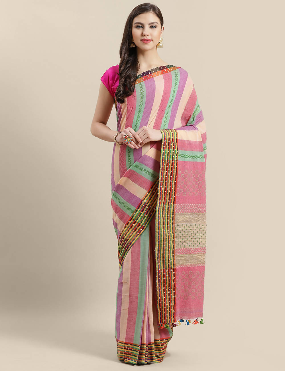 Multicolour handwoven striped cotton saree