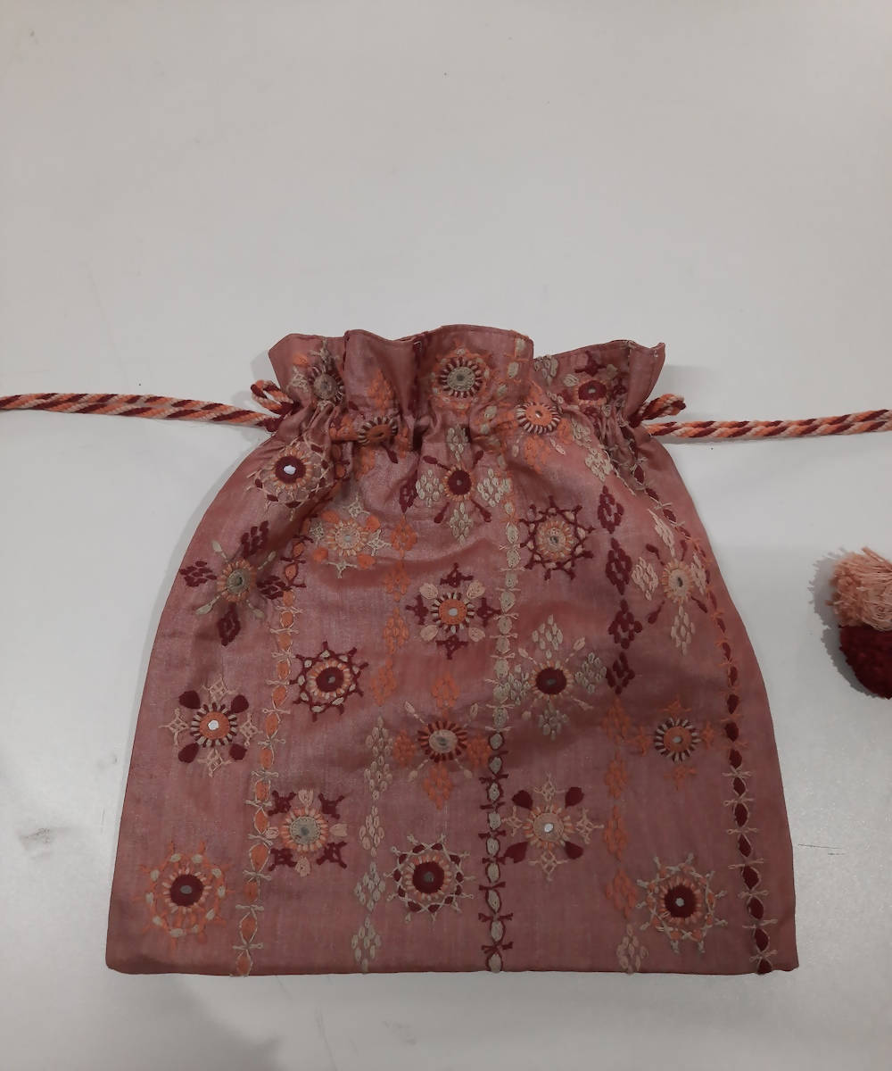 peach color lambani hand embroidery silk cotton batwa pouch