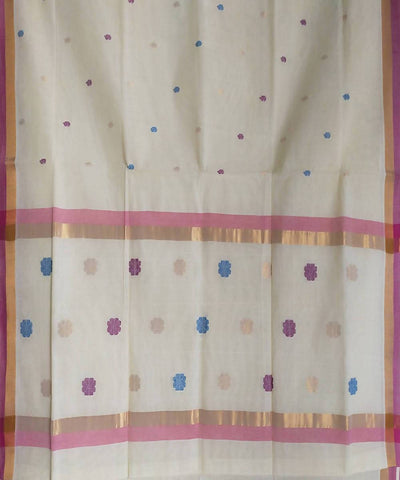 Handwoven White Venkatagiri Cotton Saree