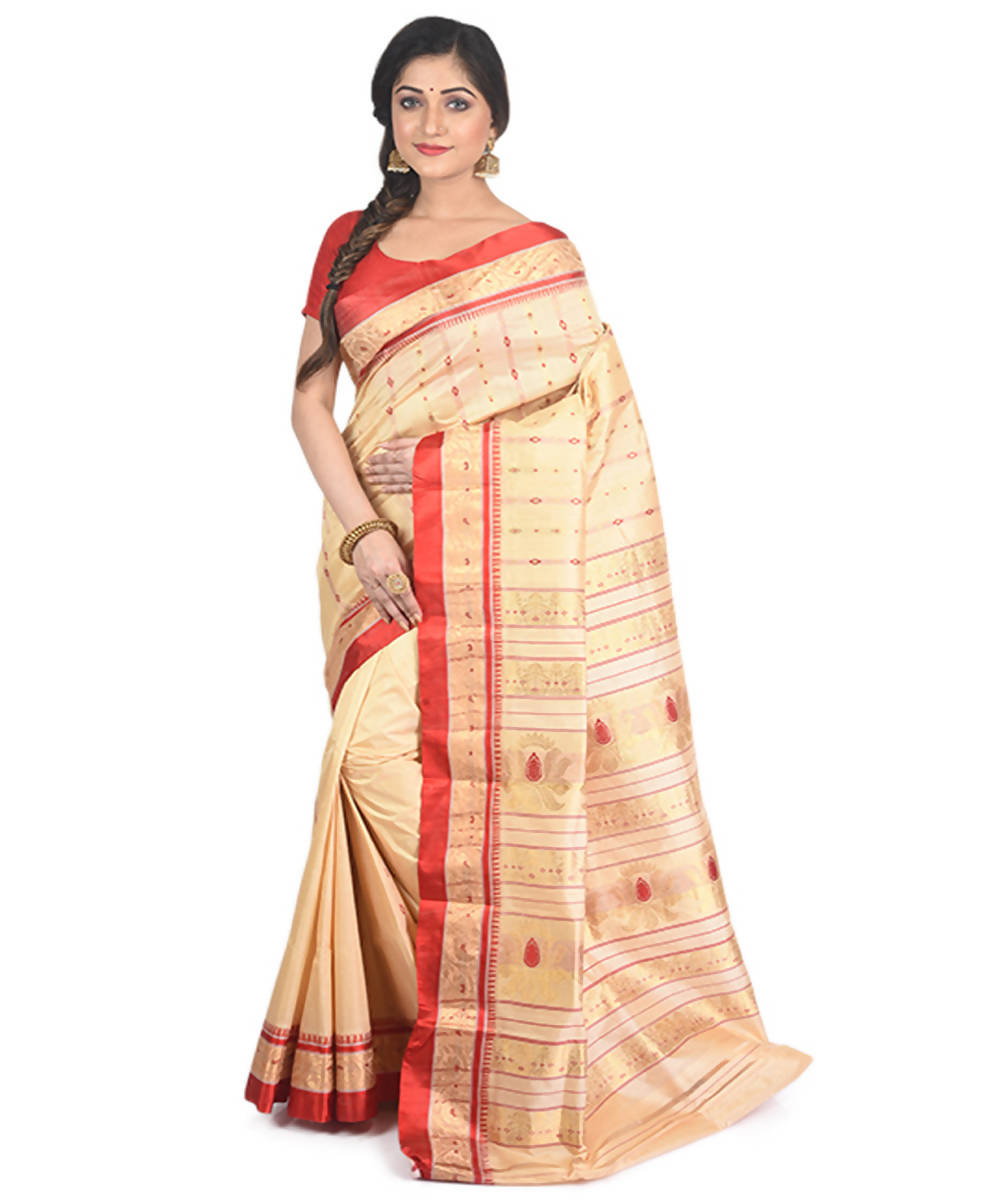 Cream red handloom garad silk saree