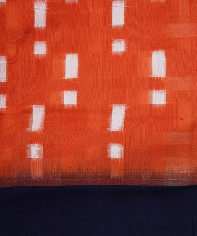 Orange Handloom Pochampally Cotton Saree