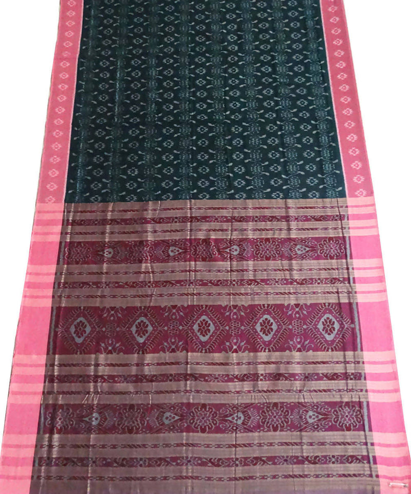 Bottle Green Nuapatna Handwoven cotton Saree