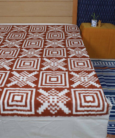 Brown White Pochampally Handloom Bed Cover