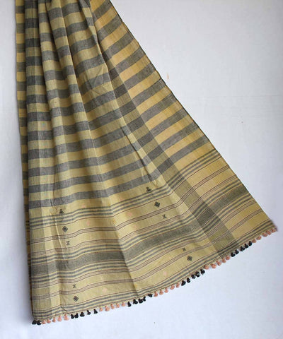 Yellow grey Kala cotton handwoven with extra weft designs dupatta