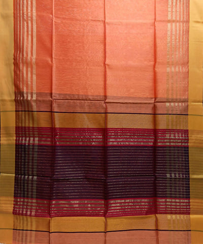 Maheshwari Coral Pink Handloom Cotton Silk Saree