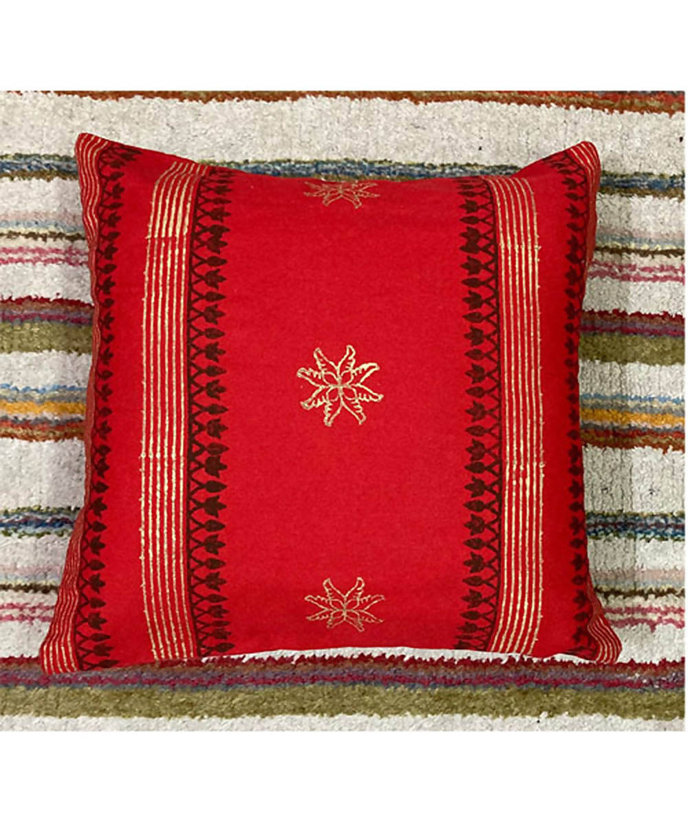 Block printing with hand embroidery red cushion cover
