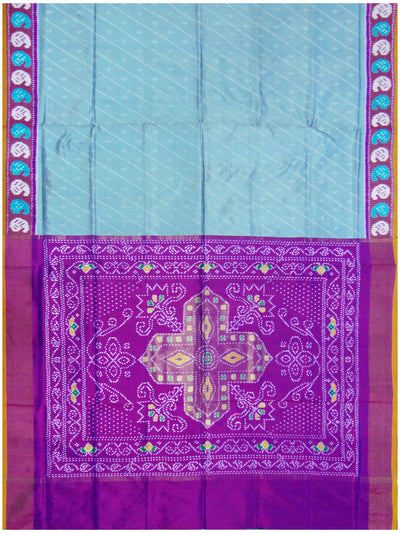 Ikat Pure Silk Saree Light Sky Blue Shade