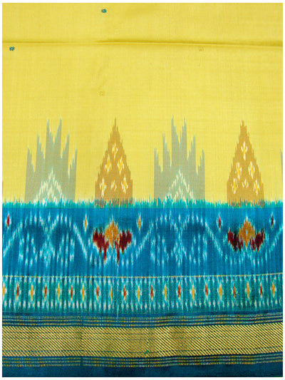 Ikat Pure Silk Saree yellow Shade