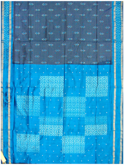 Ikat Pure Silk Saree Ananda and Navy Blue shade