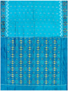 Ikat Pure Silk Saree Cyan Shade